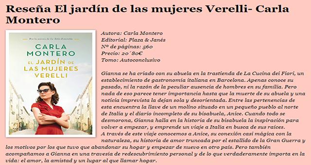 Reseña El jardín de las mujeres Verelli – Carla Montero